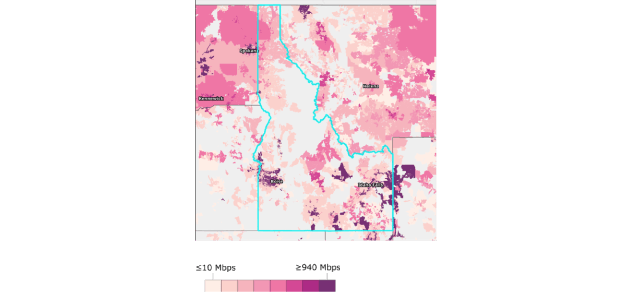 Figure 1b: Idaho: Geographic Availability of Fixed Terrestrial Broadband Service, Excluding Satellite